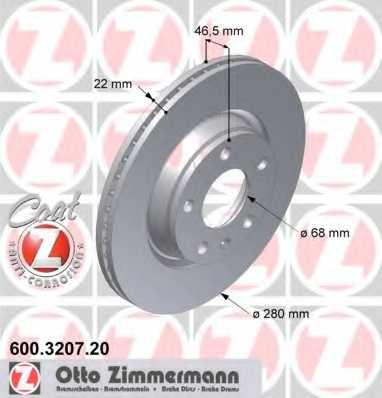 Тормозной диск ZIMMERMANN 600.3207.20 - изображение