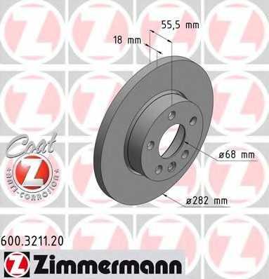 Тормозной диск ZIMMERMANN 600.3211.20 - изображение