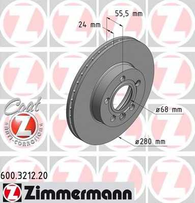 Тормозной диск ZIMMERMANN 600.3212.20 - изображение