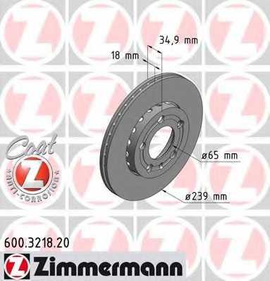 Тормозной диск ZIMMERMANN 600.3218.20 - изображение