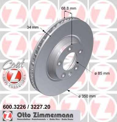 Тормозной диск ZIMMERMANN 600.3226.20 - изображение