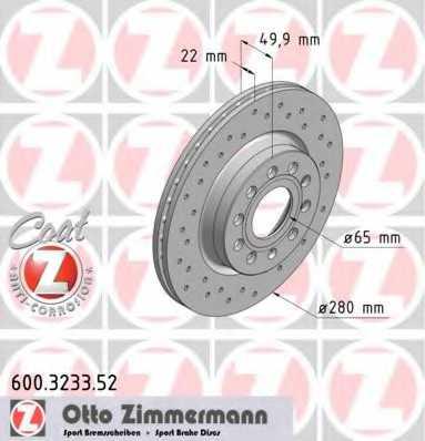 Тормозной диск ZIMMERMANN 600.3233.52 - изображение