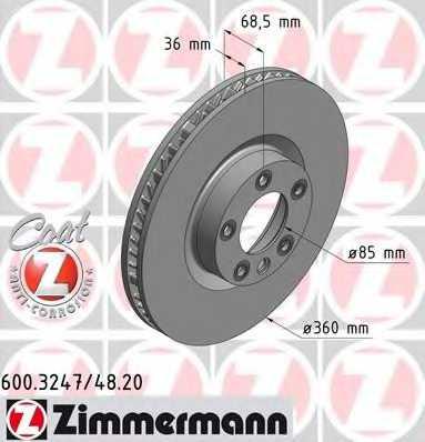 Тормозной диск ZIMMERMANN 600.3248.20 - изображение
