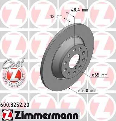 Тормозной диск ZIMMERMANN 600.3252.20 - изображение