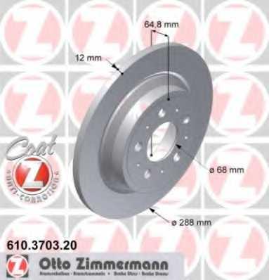 Тормозной диск ZIMMERMANN 610.3703.20 - изображение