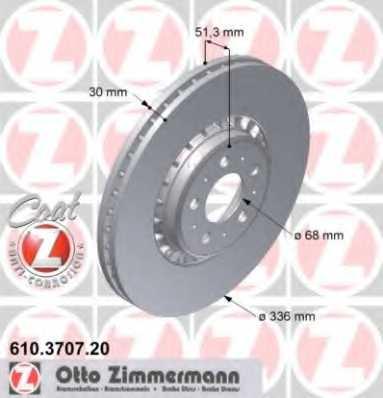 Тормозной диск ZIMMERMANN 610.3707.20 - изображение