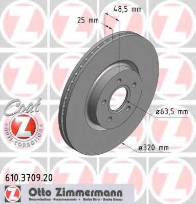 Тормозной диск ZIMMERMANN 610.3709.20 - изображение