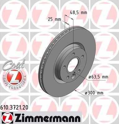 Тормозной диск ZIMMERMANN 610.3721.20 - изображение